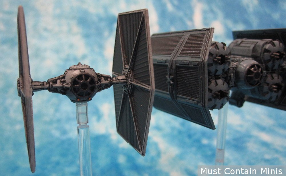 TIE Fighter Miniature escorts a TIE Punisher in X-Wing the Miniatures Game