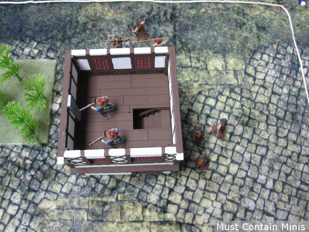 Spanish deployment in a tabletop miniatures game.