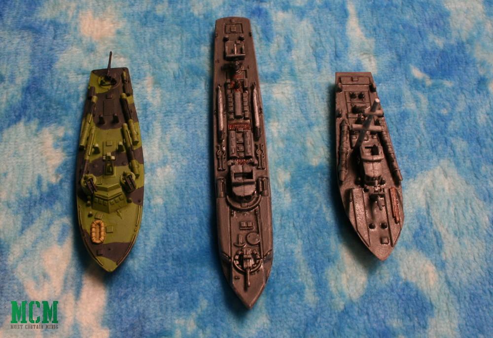 Size / scale comparison shot of MTBs in Cruel Seas