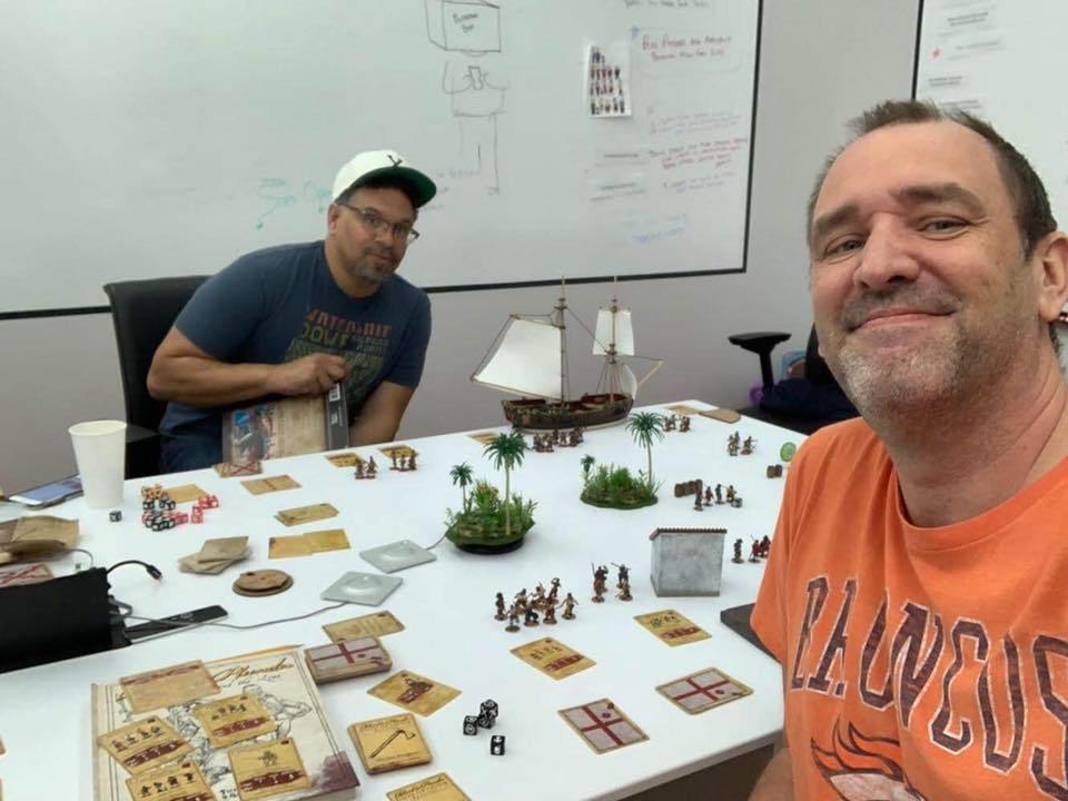 Trey Parker plays the miniatures game Blood and Plunder by Firelock Games