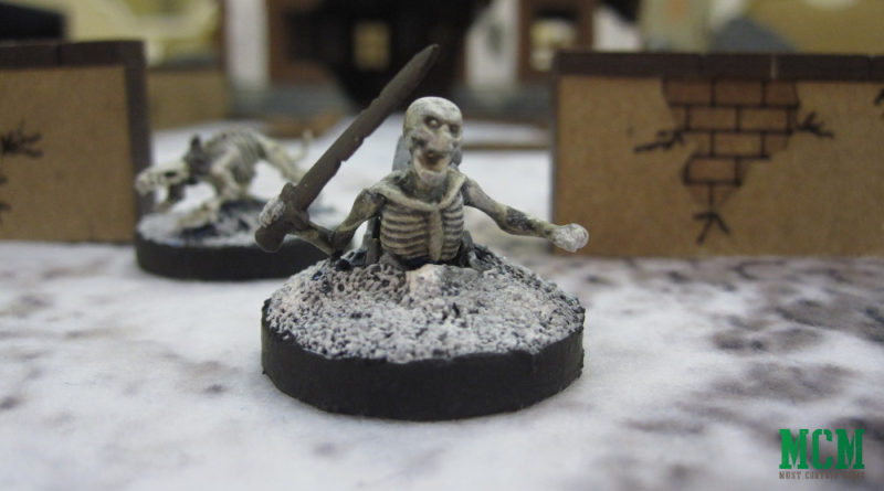 Mantic Games Skeleton Miniature coming out of the ground and skeleton Dog - Kings of War and Frostgrave