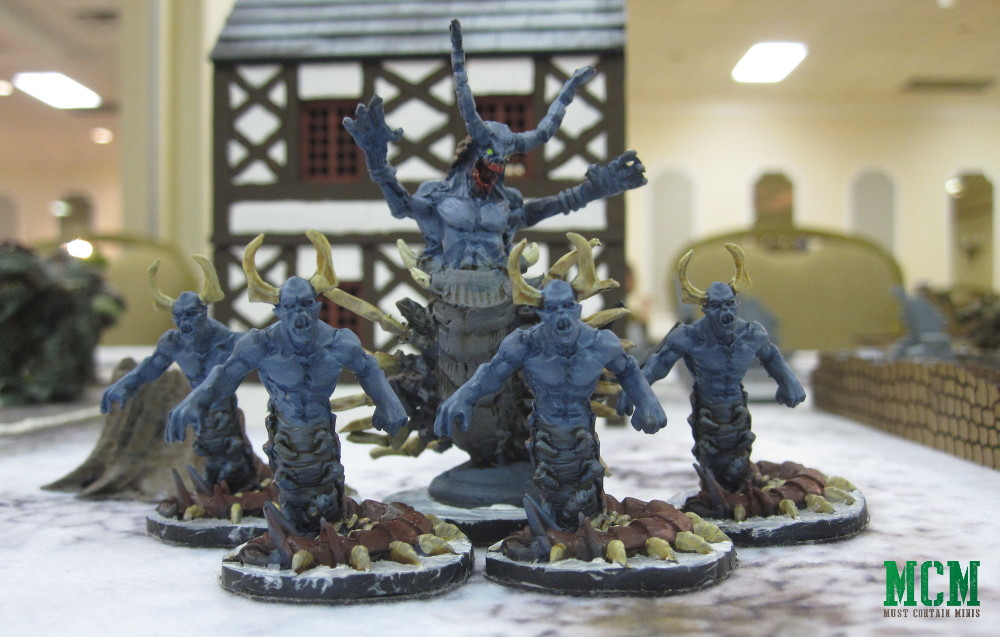Frostgrave Chilopendra and Centipede Demon Miniatures together