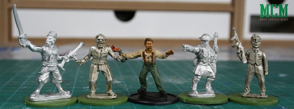 Pulp Miniatures 28mm to 25mm miniatures scale comparison - Gangsters