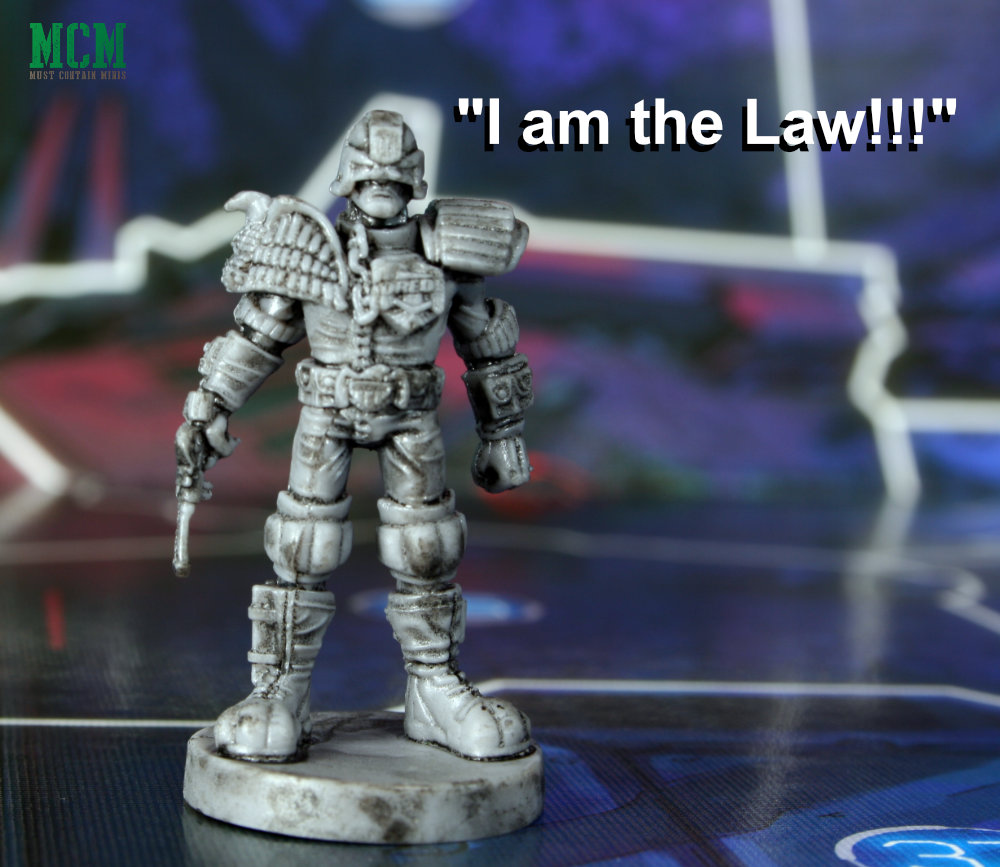 """I am the Law!"" Judge Dredd Miniature from Helter Skelter by Osprey Games"