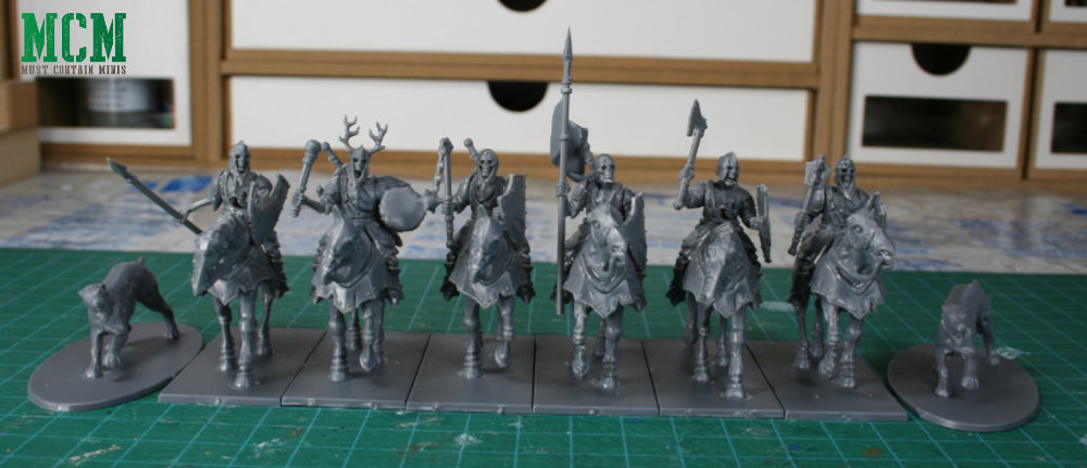 The miniatures that come in the Living Dead Knights boxed set for Forgotten World by Fireforge Games