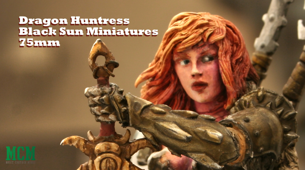 Dragon Huntress 75mm Miniature by Black Sun Miniatures at Sword and Brush 2019