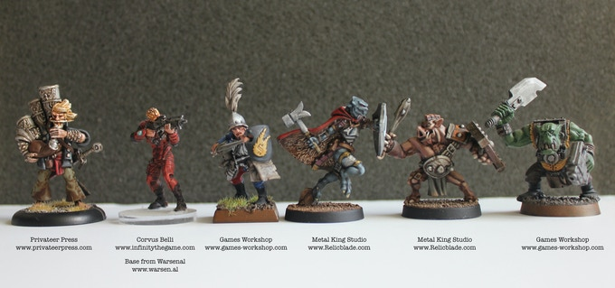 Relicblade to Privateer Press to Infinity to Warhammer scale comparison of Metal King Studios miniatures.