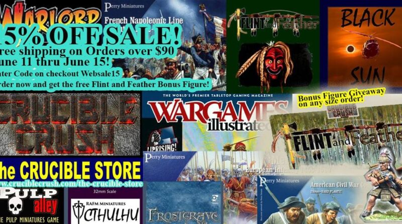 15% off sale of Warlord Games Products and all other products at Crucible Crush