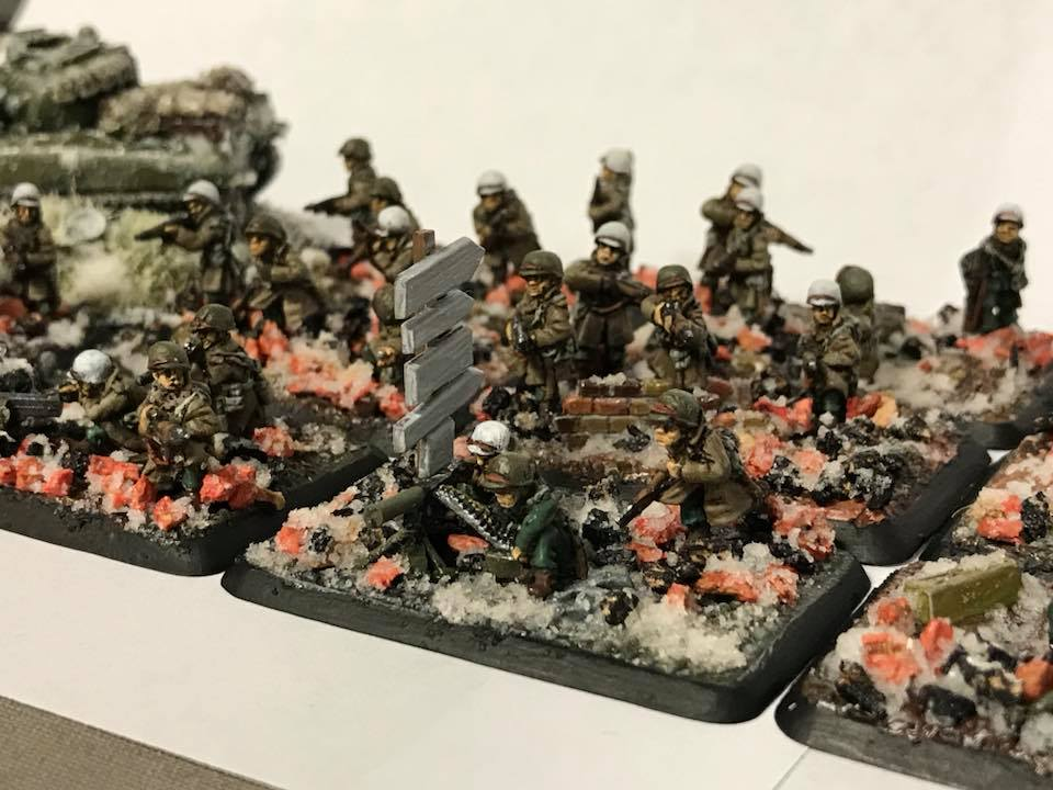An American Winter Infantry Platoon in 15mm miniatures