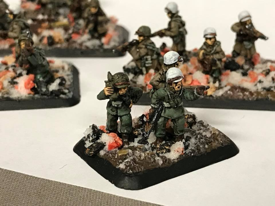 An American Head Quarters Unit for Wintertime WW2 soldiers. 15mm Flames of War Miniatures.