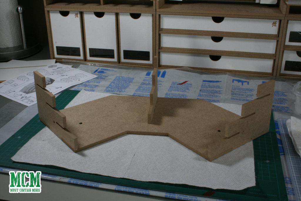 A corner paints module being built