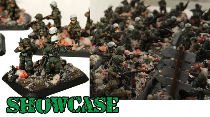 Flames of War painted American Winter Infantry painted by Brenden Brown