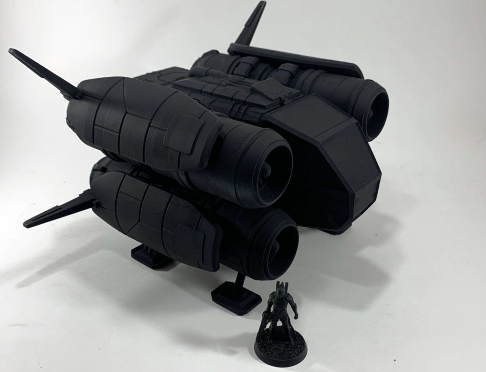 A 3D Printed space ship good for your RPG tabletop. 28mm to 35mm.