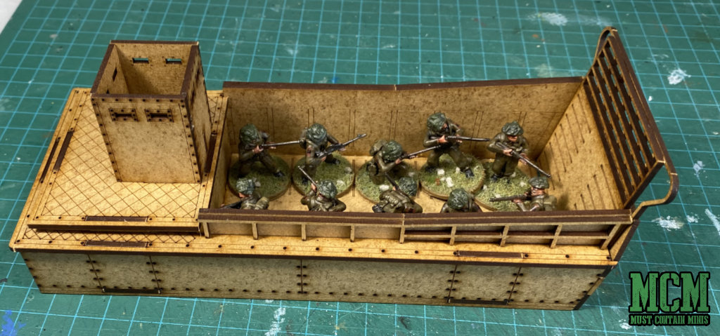 Landing Craft by Sarissa Precision with Bolt Action British Infantry on board.