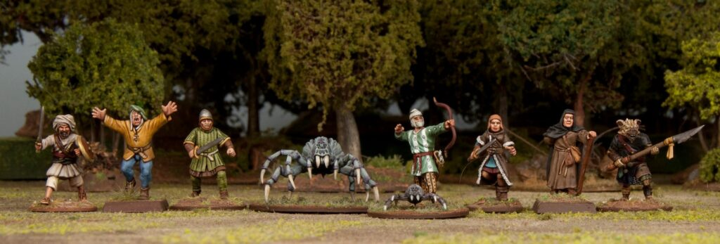 A 28mm scale comparison of the spider vs Frostgrave miniatures, Wargames Atlantic Miniatures, and other miniatures.