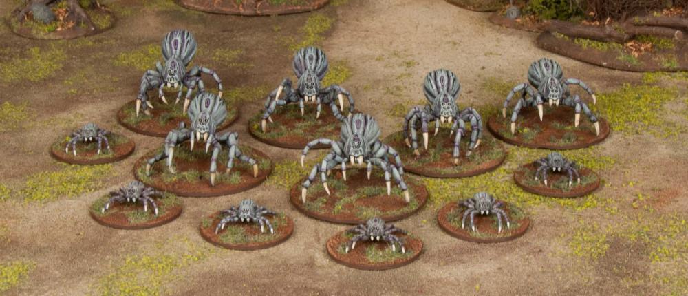 Half a box of Wargames Atlantic's Spider Miniatures.