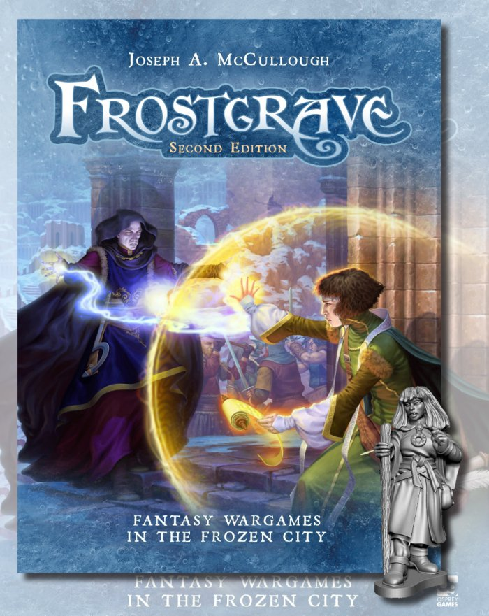 The cover of Frostgrave Second Edition up for pre-order with a free miniature
