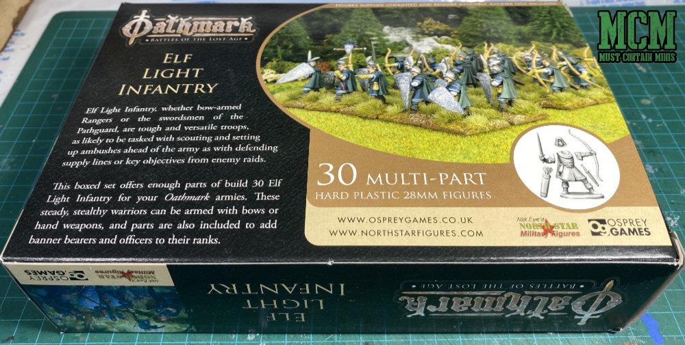 Oathmark Elf Light Infantry packaging - back of box.