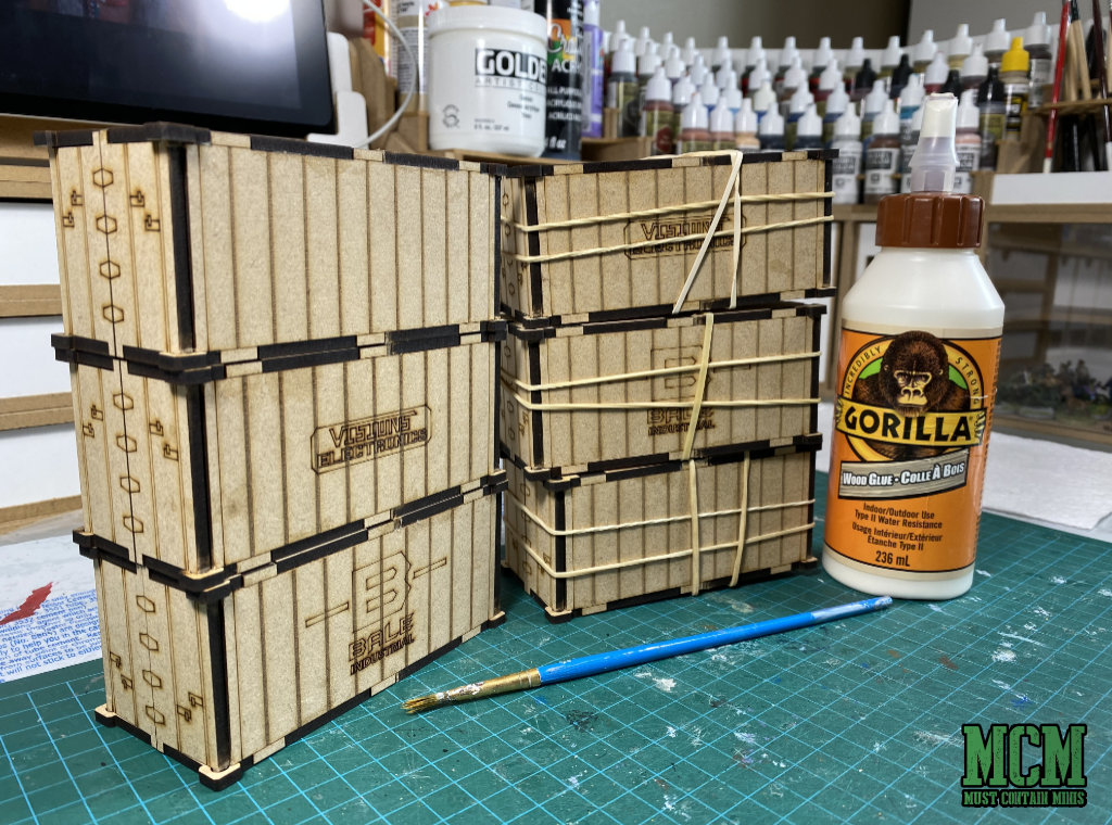 MDF Intermodal Containers Terrain built with Gorilla White Glue for miniature wargaming.