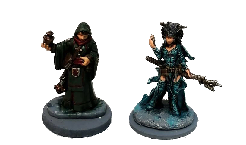 Frostgrave showcase - painted miniatures by Reaper Miniatures - Olivia a Female Cleric and Feiya an Iconic Witch.
