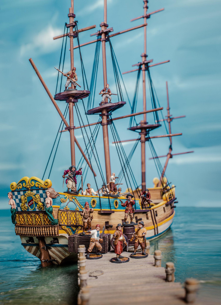 Pirates guard their ship while docked at port. 28mm miniature pirate wargaming.
