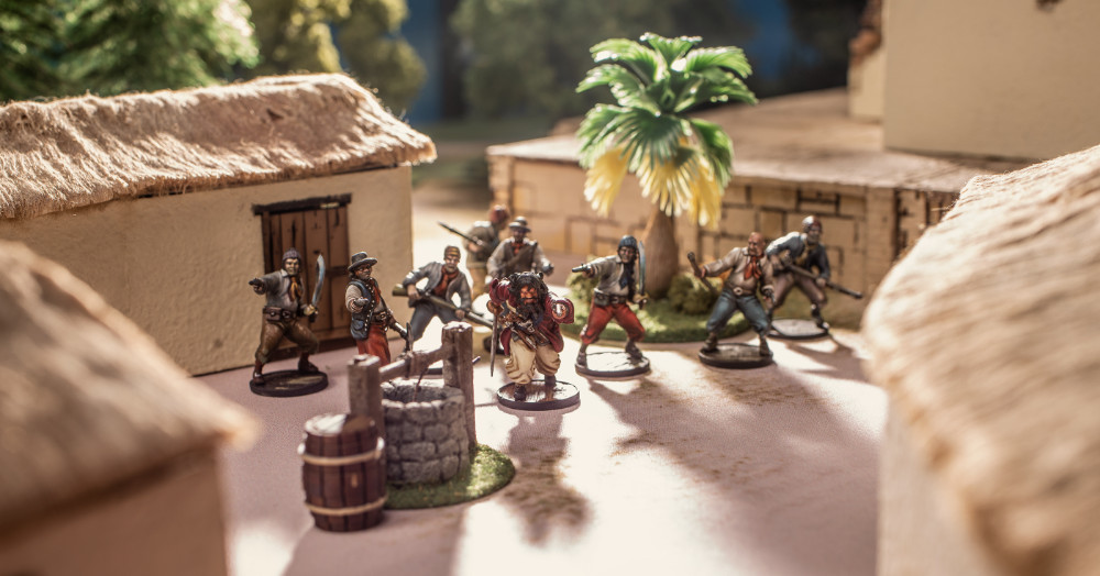 Pirates are coming to raid your town. A crew of Blackbeard's pirates raid a small village.