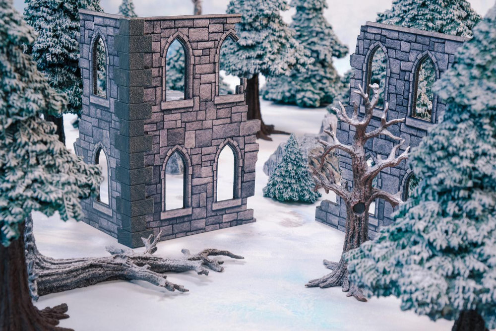 A Frostgrave set up using terrain by Monster Fight Club's new Kickstarter Monster Scenery: Ice Wilds