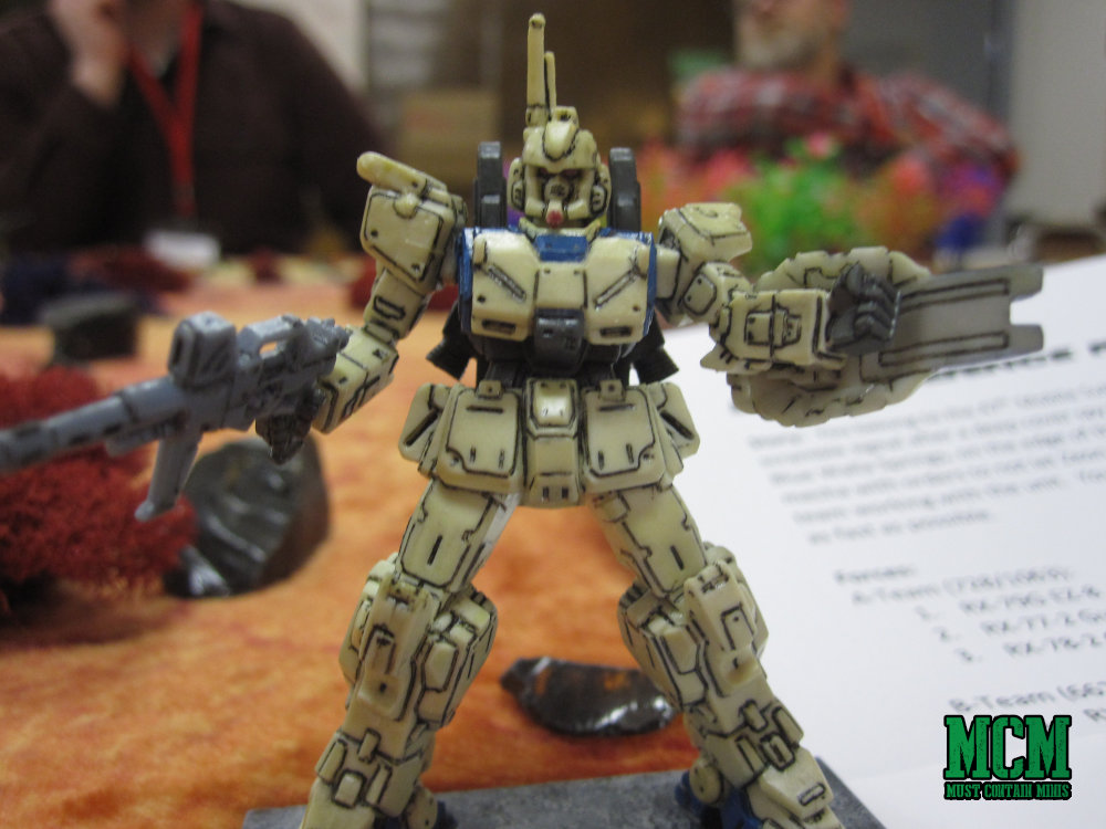 Gundam style toy mechs used as miniatures