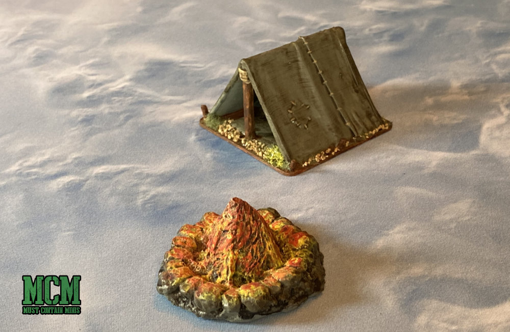 Miniature Wargame Terrain - Fire Pit and Tent Review - Six Squared Studios