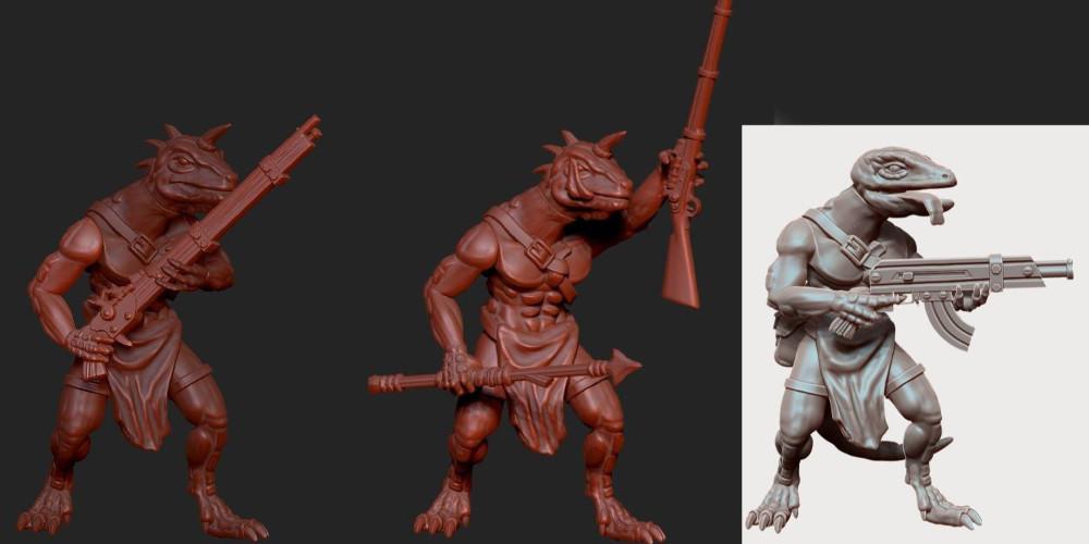 3D Renders of upcoming 28mm Sci-Fi Lizardmen for miniature wargaming.