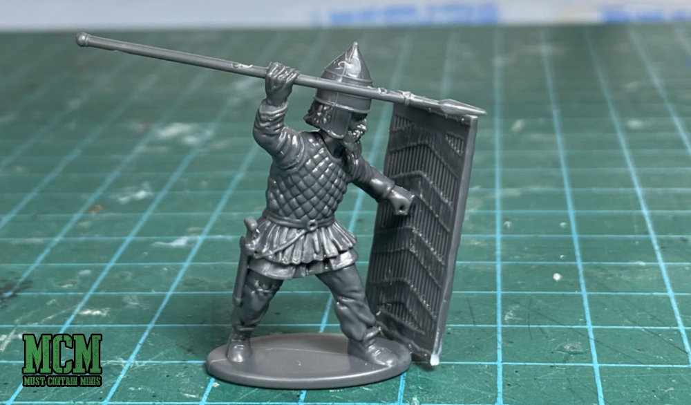 28mm Warrior with a spear and tower shield