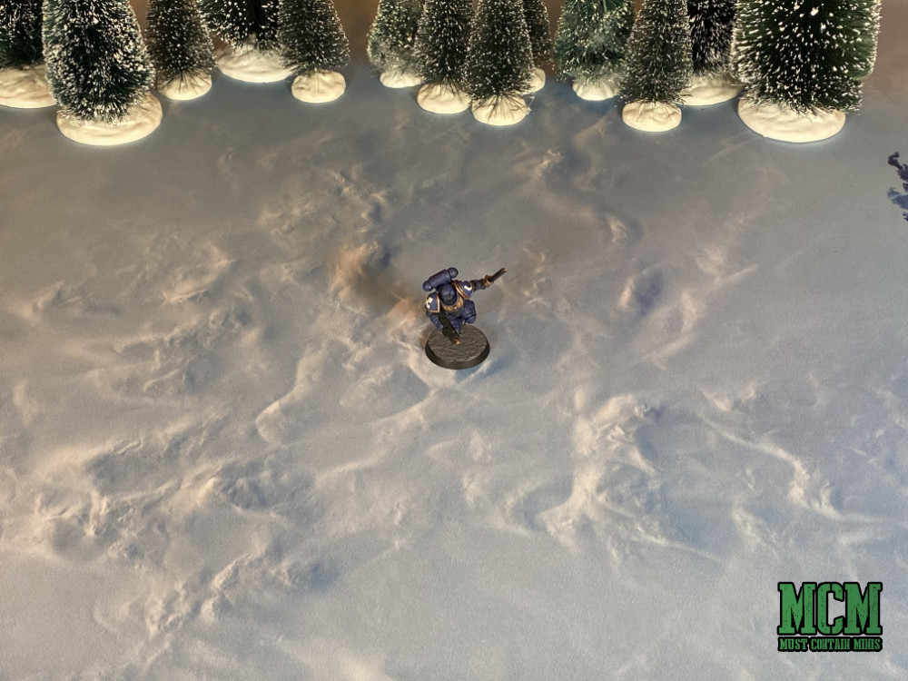 Space Marine on a winter wasteland. Game Mat Review.
