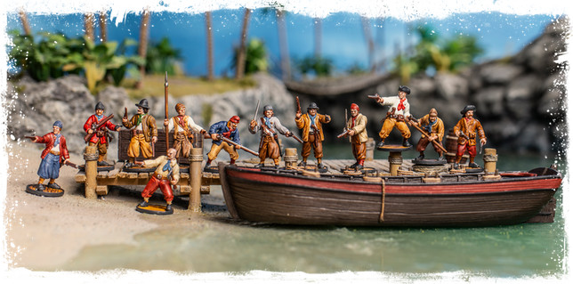 A boat load of pirate miniatures