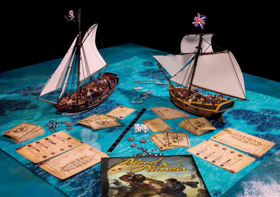 Beauty shot - The contents of the Blood & Plunder: Raise the Black 2-Player Starter Set.