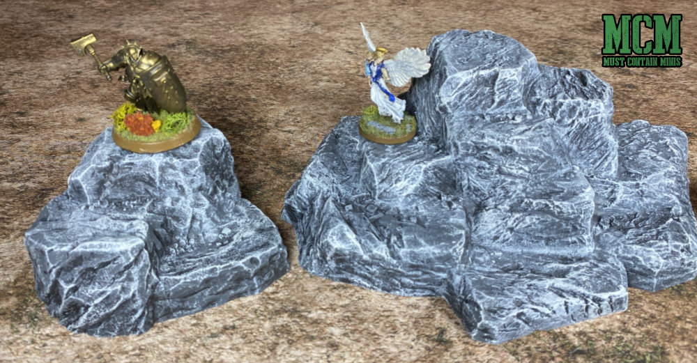 Monster Scenery: Rock Hills Scale Comparison with Reaper Miniatures and Games Workshop.