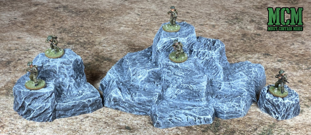 Monster Scenery: Rock Hills Scale comparison with 28mm Bolt Action Miniatures