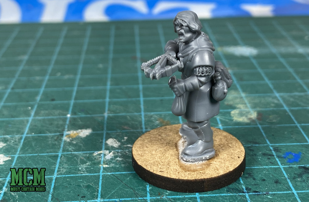 A marksman made with the parts of a Plastic Frostgrave Knights box set.