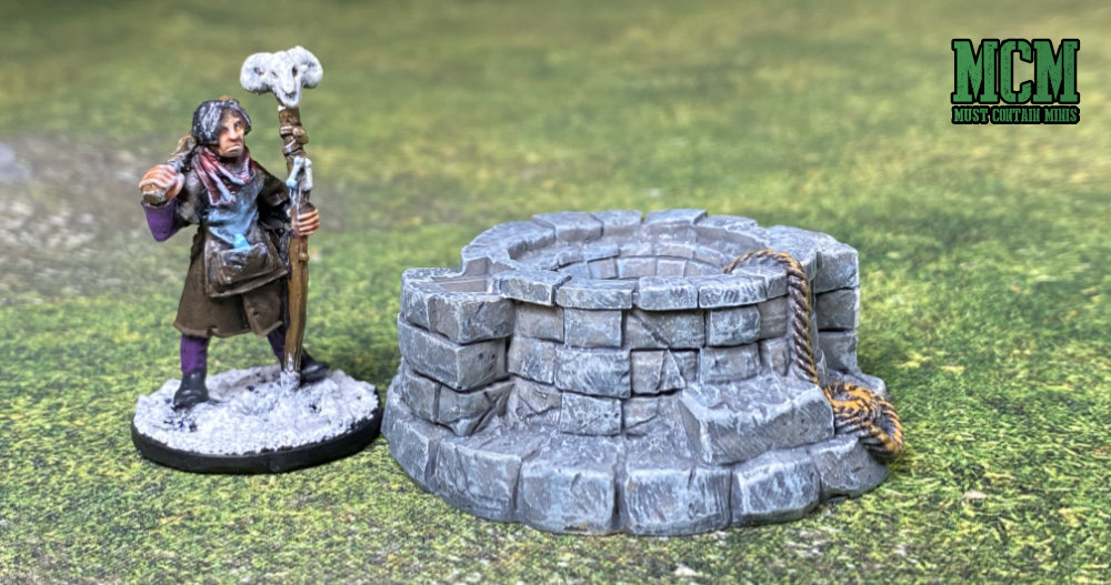 A Well with a 28mm Miniature - Scatter terrain review for miniature wargaming