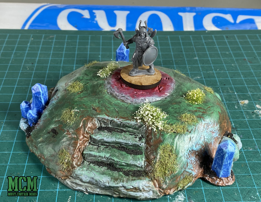28mm magical mound with a Frostgrave Soldier
