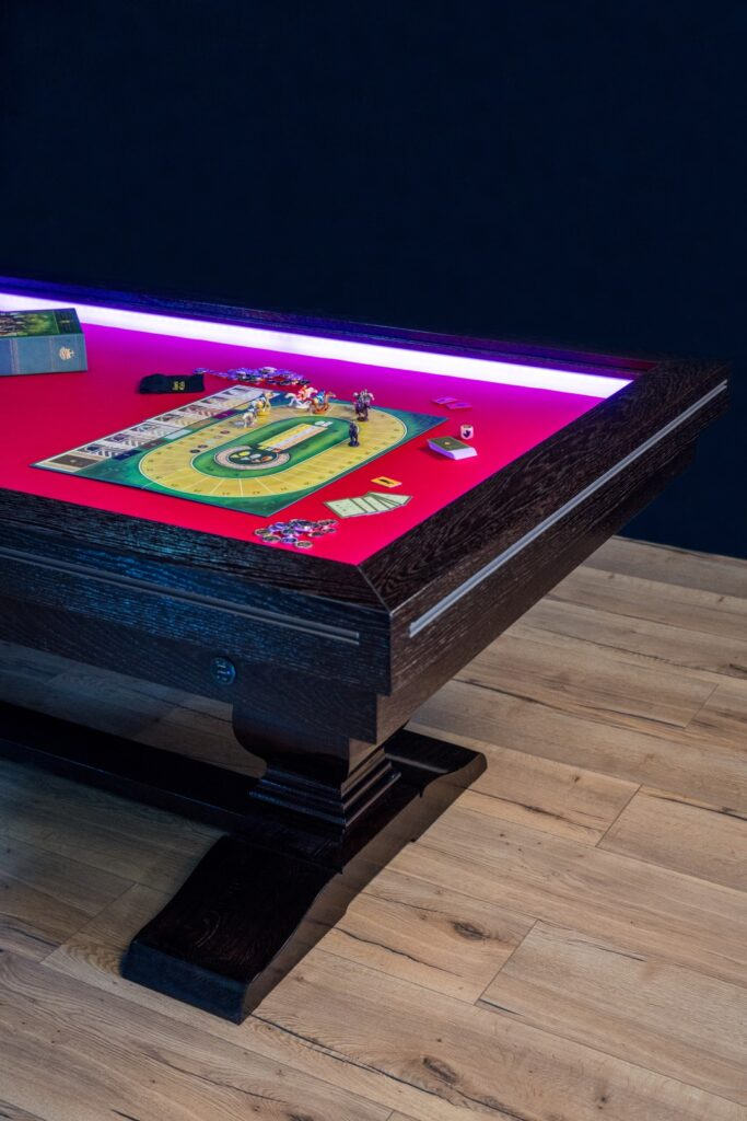 Gaming table with inline lighting