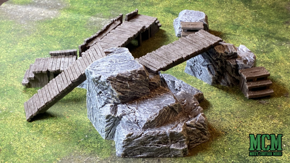 Bridges and Barricades terrain in use with Rock Hills