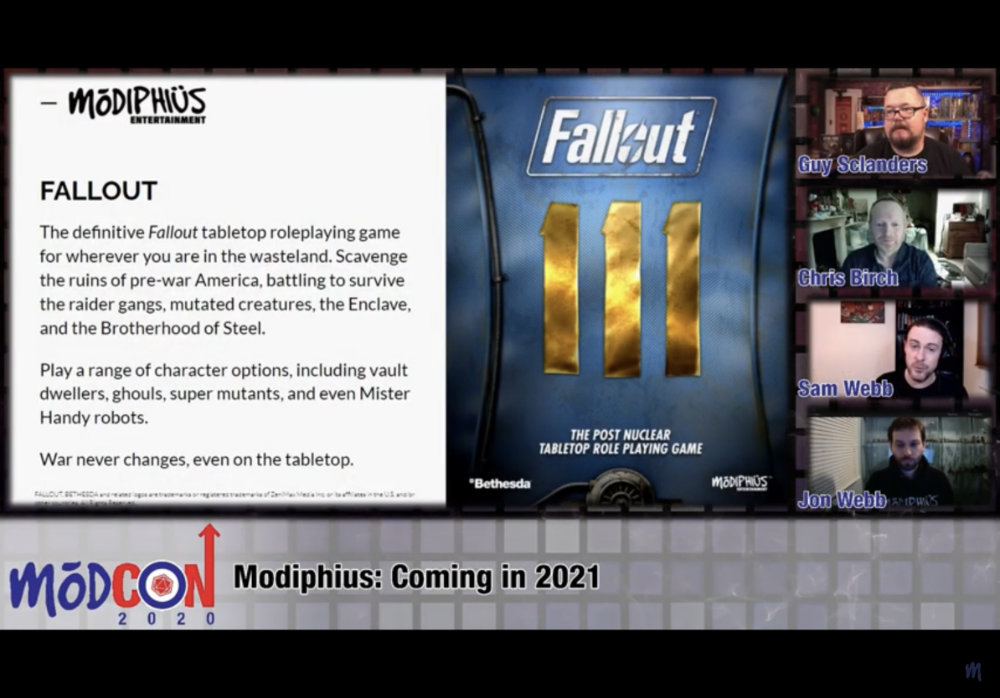 Modiphius in 2021 will release a Fallout 2D20 RPG game.