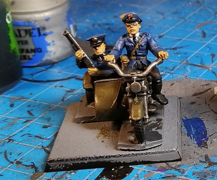 RAFM Police Motorcycle with sidecar miniature for 25 / 28mm gaming