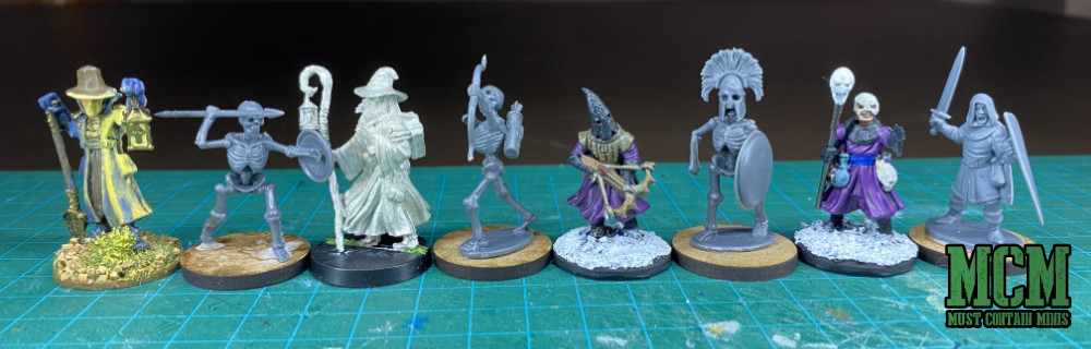 Scale comparison - Wargames Atlantic Skeletons to Reaper miniatures, DGS Games, Frostgrave, and Oathmark