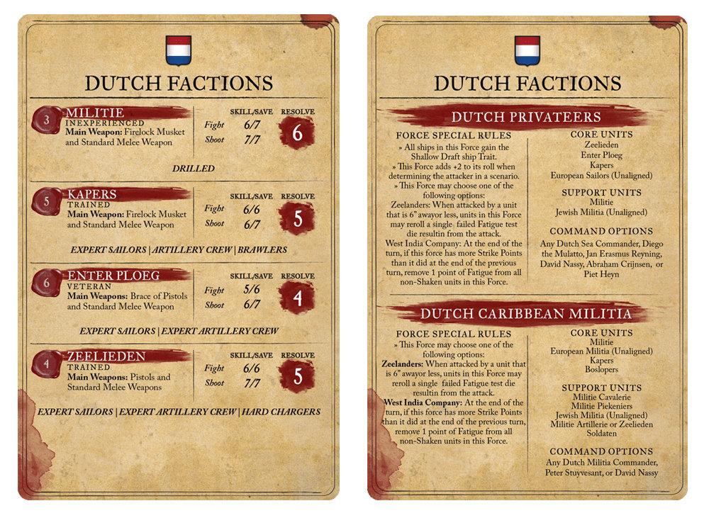 Dutch Starter Set Card for Blood & Plunder