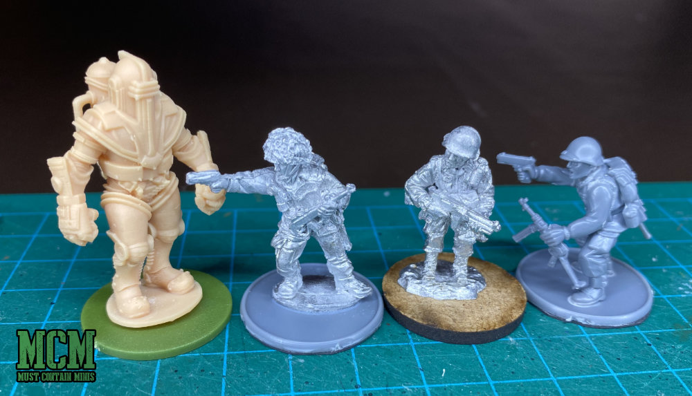 Scale Comparison WW2 Warlord Games and Gaddis Gaming miniatures for Bolt Action. Power Armour too