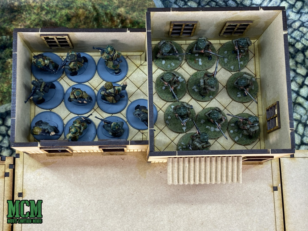 20 miniatures inside of a building for Bolt Action and other WW2 games