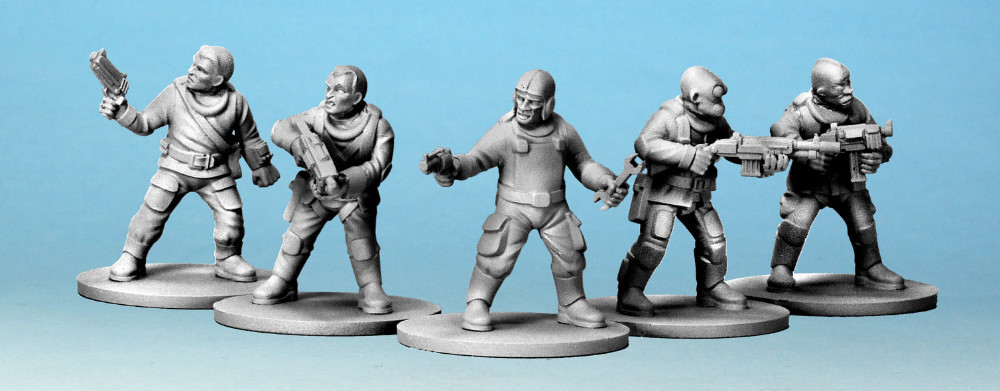 A preview image of the new Stargrave Crew Miniatures by Osprey Games and North Star