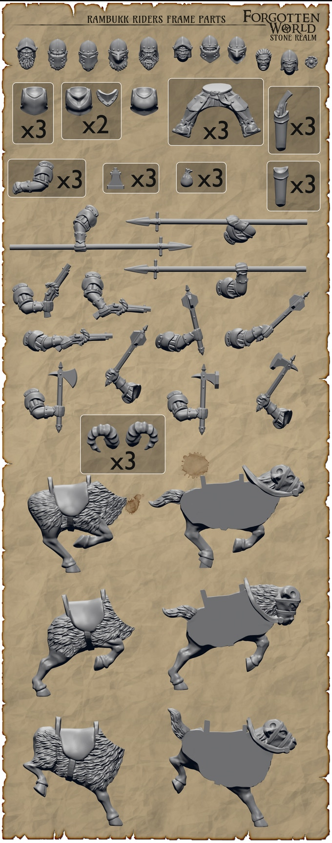 Dwarves from Fireforge Games - 28mm Dwarf Cavalry on Goats / Rams