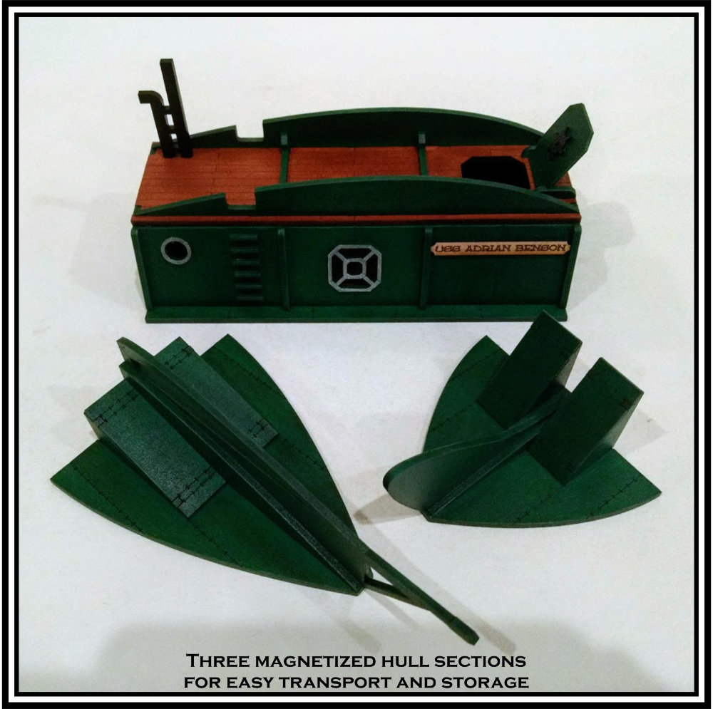 This submarine can be taken apart to transport to your FLGS or Conventions.